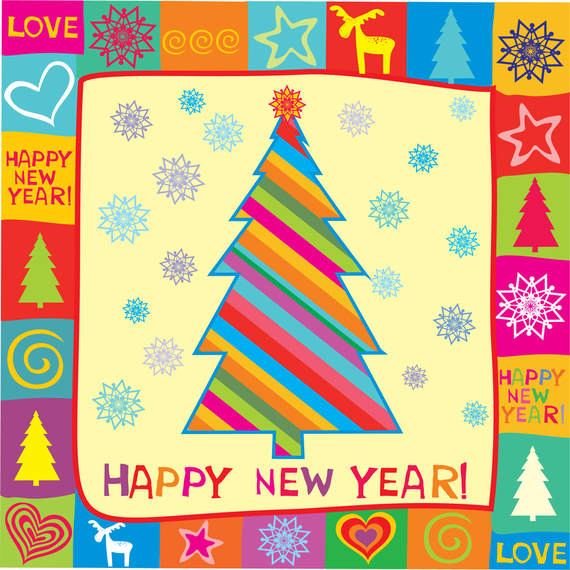 Happy New Year Greeting Card Vector Illustration AD ,