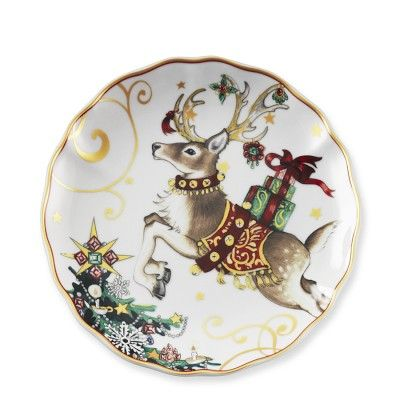 Christmas dinnerware sets  sc 1 st  Pinterest & T\u0027was The Night Before Christmas Salad Plates Set of 4 Reindeer ...