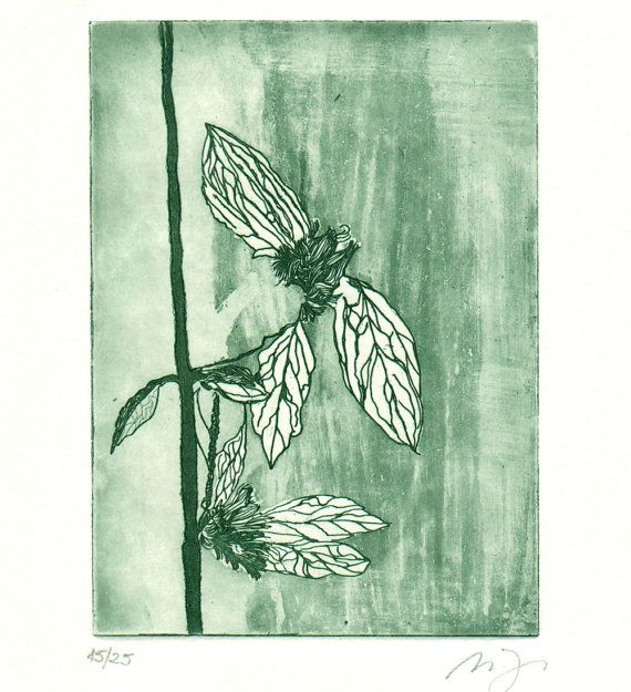 Original Etching BEE TREE Garden Leaves Fine Art Etching Aquatint Wall Decor Burin Limited Edition 10x8 $30.00