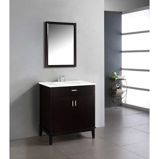 Wyndenhall Oxford 30 Inch Contemporary Bath Vanity In Dark Espresso Brown With White Engineered Quartz Marble Top Simpli Home Granite Vanity Tops Simple Bathroom Remodel