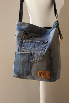 XL denim BAG Weekender bag Hobo bag Recycled denim Festival bag Upcycle Jeans Denim Bag Shoulder bag Big denim bag Code XL01