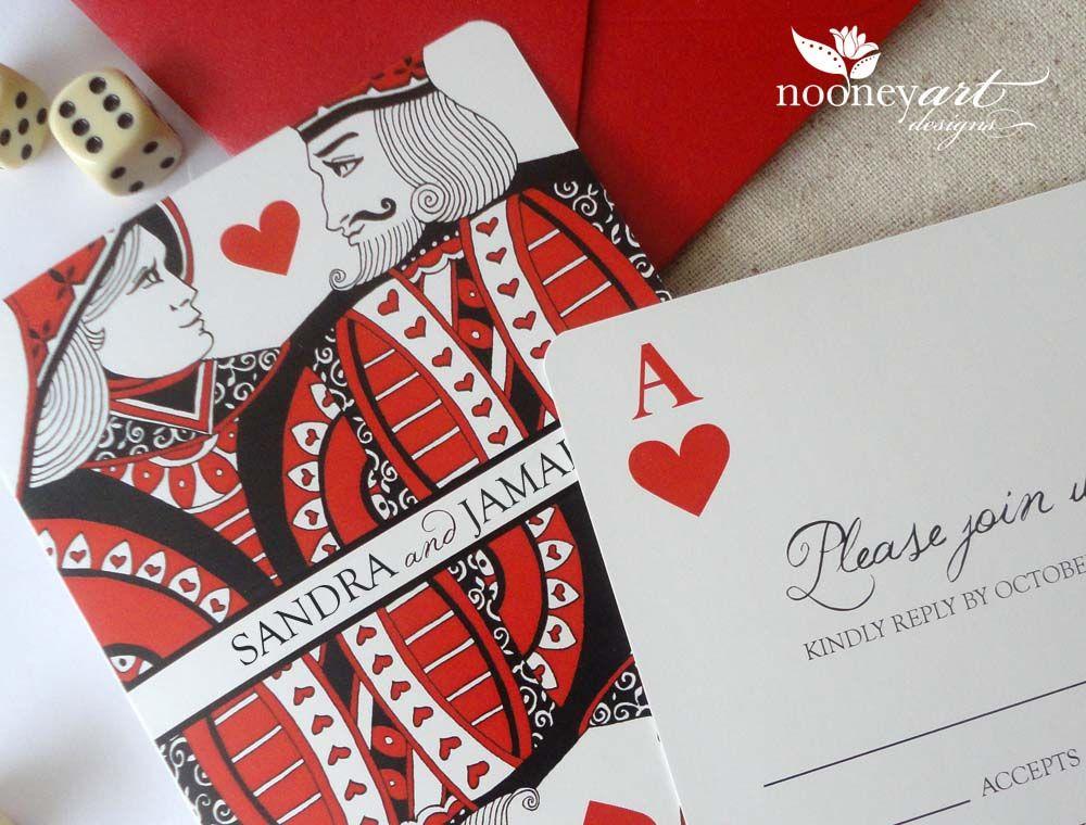 Las Vegas Wedding Playing Card Wedding Invitations And Save The Dates Nooneyart Designs