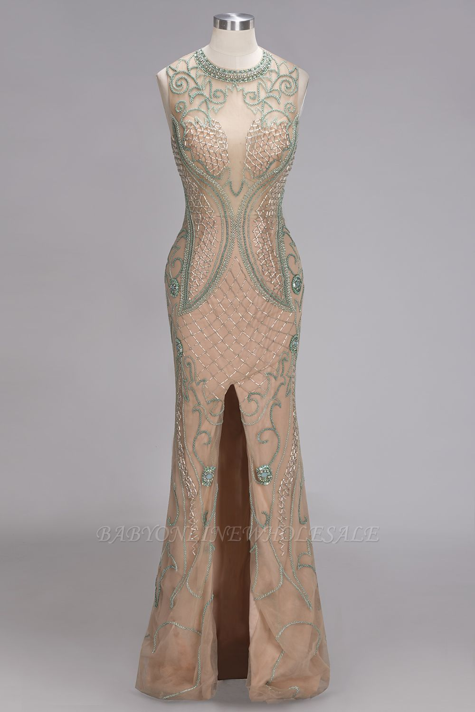 Nadine mermaid sleeveless floor length beading patterned champagne