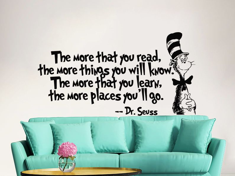Dr Seuss Wall Decal Quote Vinyl Sticker Decals Quotes The More That You Read Decal Quote Sayings Wall Decor Nursery Art Kids Baby  sc 1 st  Pinterest & Dr Seuss the More That You Read Decal Quote Sayings Wall Decal ...