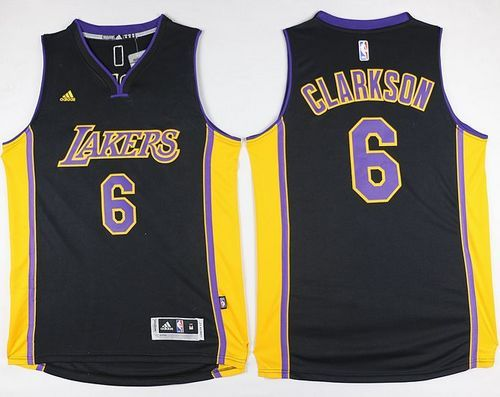 e182b8a21a77 Lakers  6 Jordan Clarkson Black(Purple NO.) Stitched NBA Jersey ...