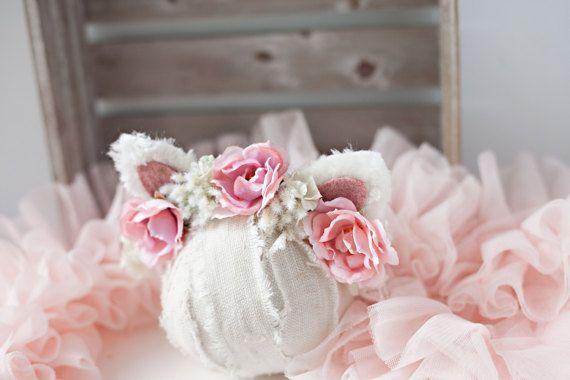 No Kitten newborn cat kitty ear flower crown by babybirdieboutique