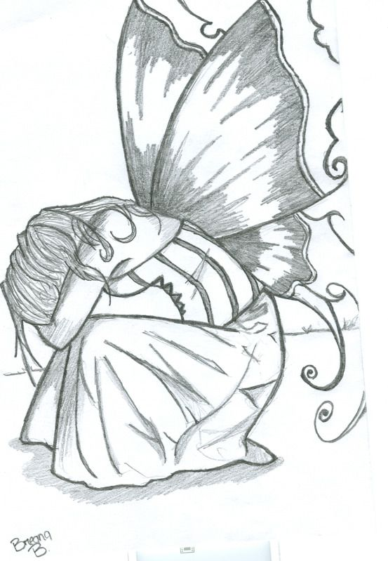 Pencil drawings of fairies 01