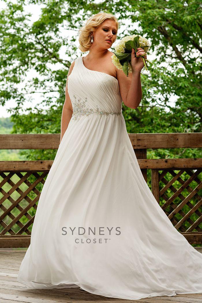 Exquisite oneshoulder wedding gown Destination wedding