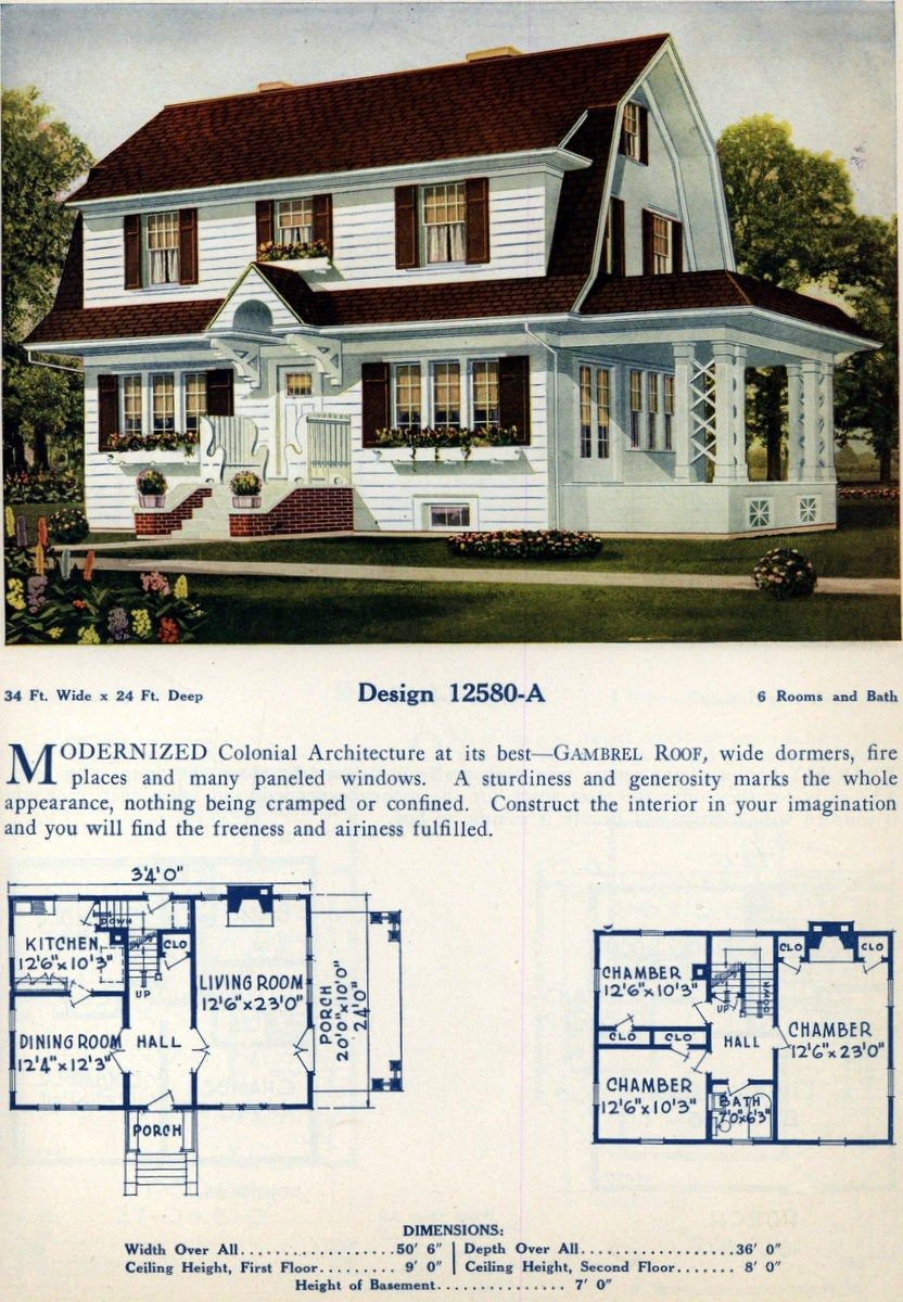 62 Beautiful Vintage Home Designs Floor Plans From The 1920s Colonial House Plans Dutch Colonial Homes Architecture House