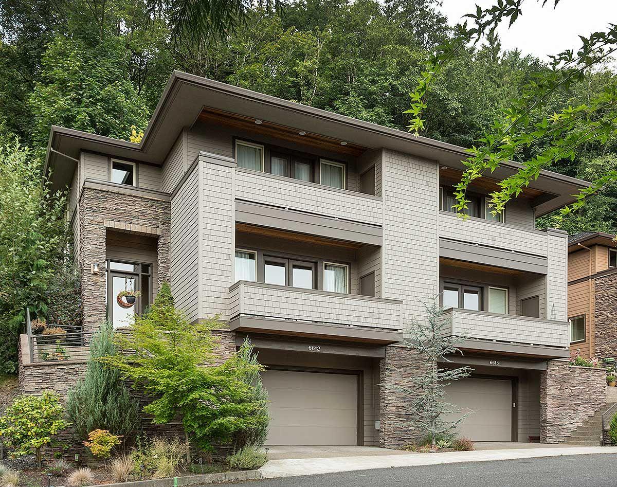 plan 69111am hillside multi family home plan metal deck railing