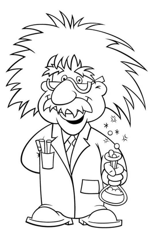Albert Einstein Wore Glasses Coloring Pages Printout A