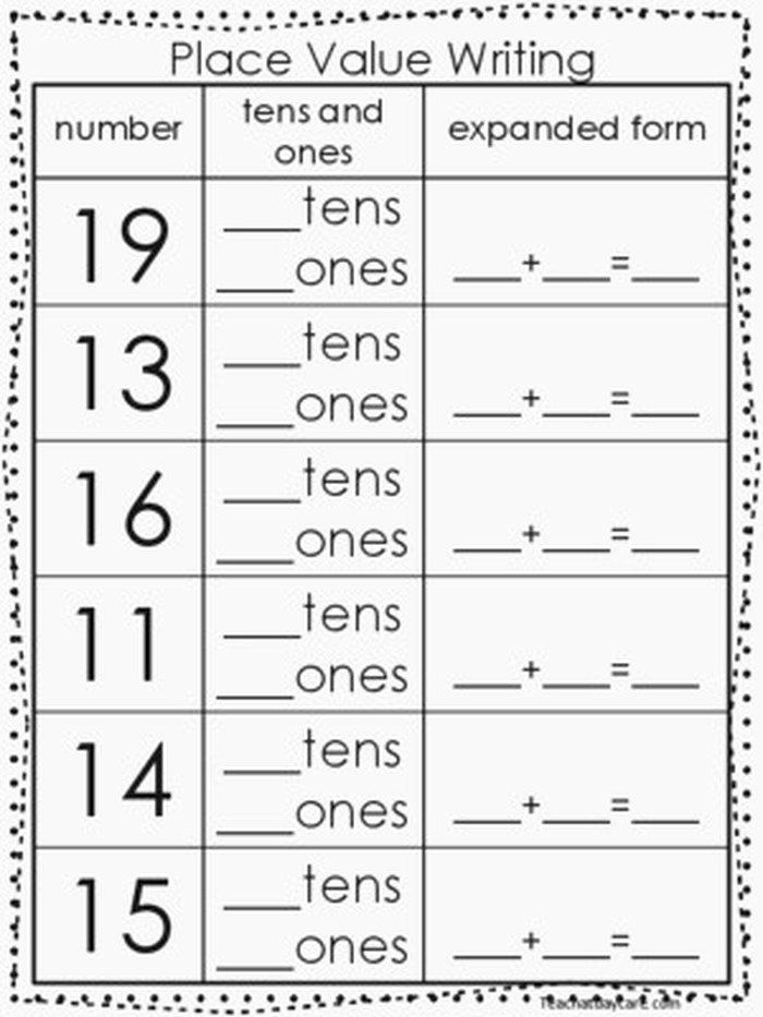 Tens and Ones Worksheets Kindergarten Place Value Tens and ...