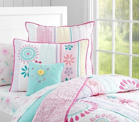 Pottery Barn Kids Bright Striped Patchwork Pink Green Blue: Girl Beds, Bailey Ruffle Quilted
