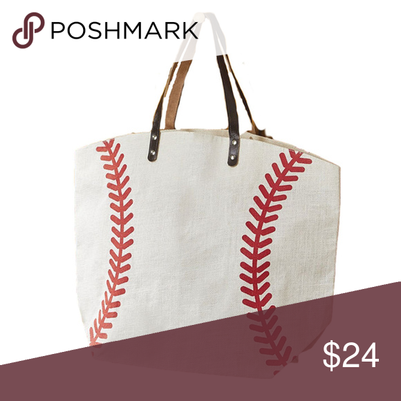 32b910e78294 Baseball Jute XL Tote Bag Made of jute burlap and faux leather, this ...