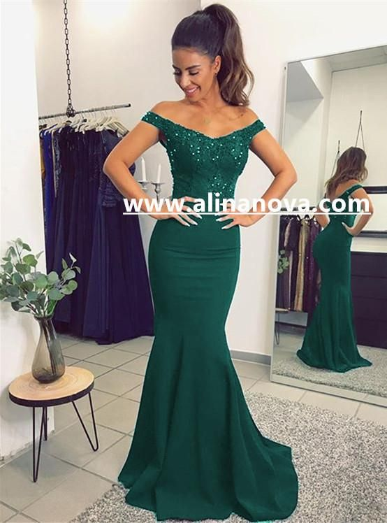 V Neck Long Navy Blue Mermaid Evening Dresses Lace Off The Shoulder ...