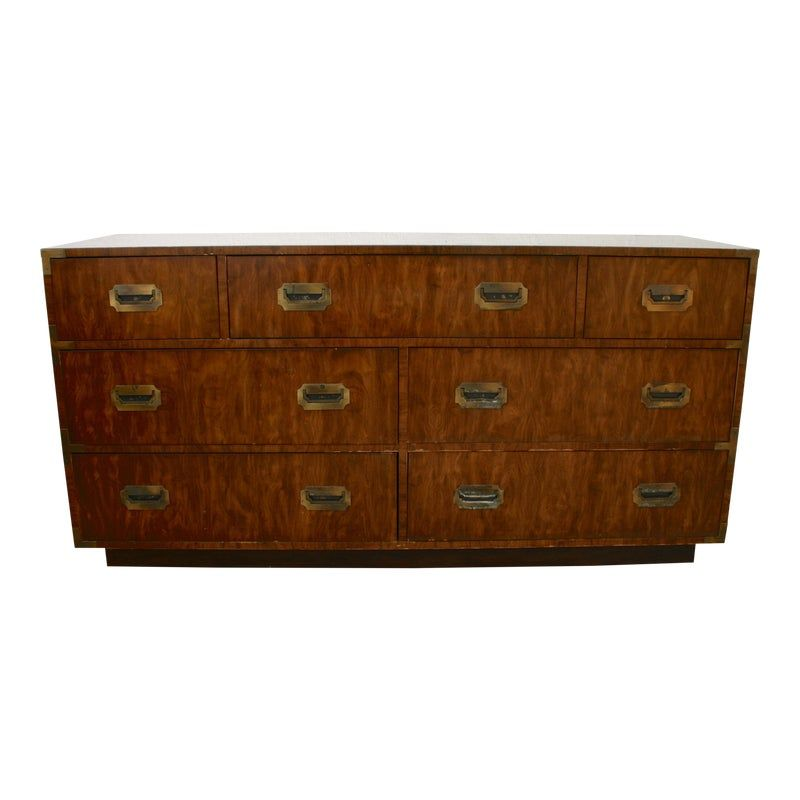 Mid Century Campaign Dixie 7 Drawer Lowboy Dresser Lowboy Dresser Dresser Dixie Furniture
