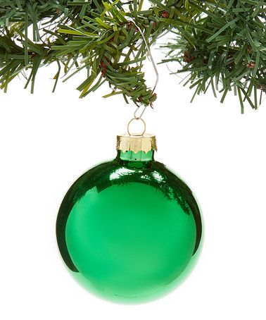 Another great find on #zulily! Green Christmas Shiny Glass Ornament Set #zulilyfinds