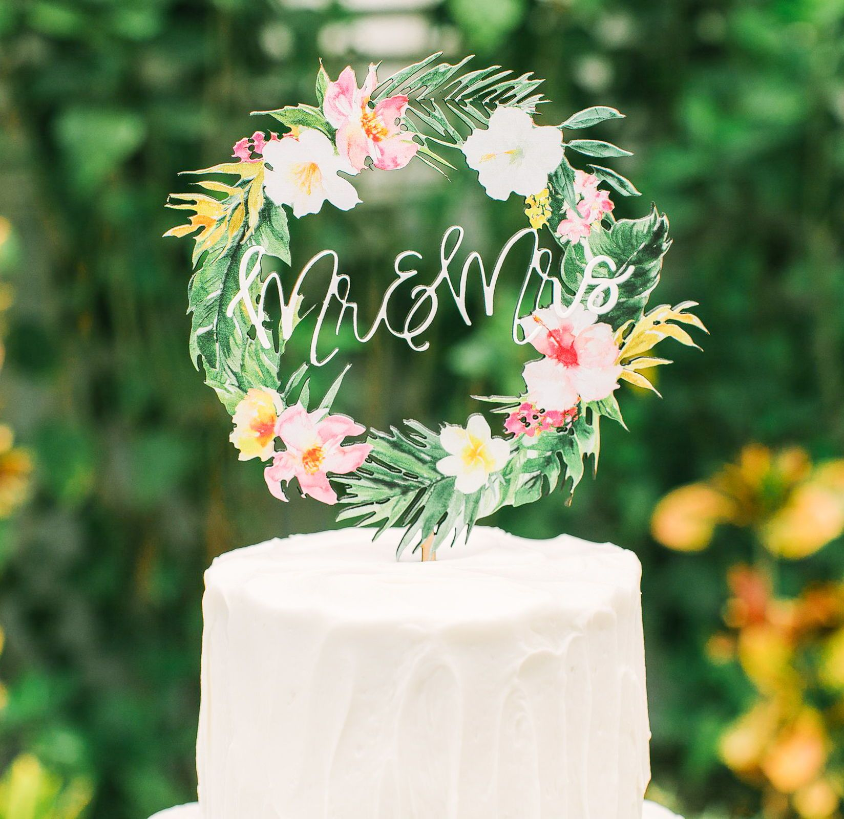 Tropical wedding cake topper floral wreath mr u mrs colorful wooden