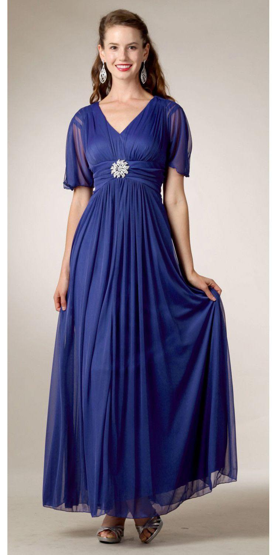 Modest royal blue maternity gown flowy tea length v neck short