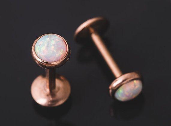 16 Gauge Rose Gold White Opal Earring Tragus Monroe Helix Labret