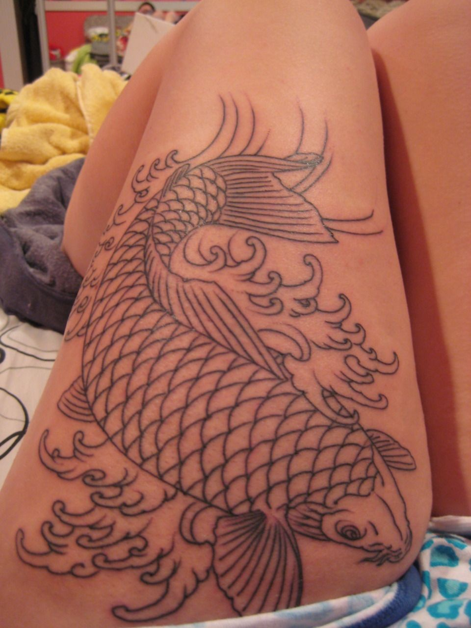My koi fish outline. Done by the wonderfully talented Erik Desmond ...