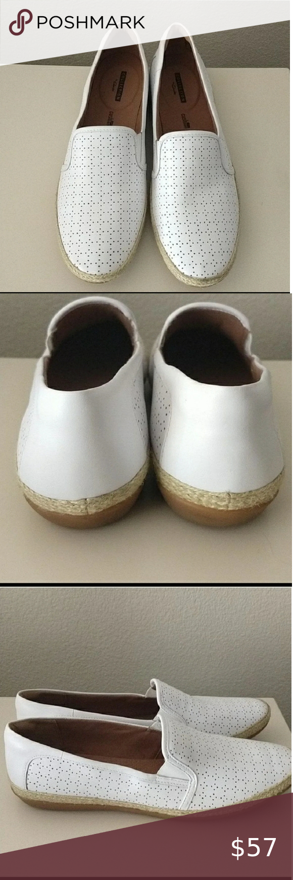 Clarks White Slip on Shoes in 2020