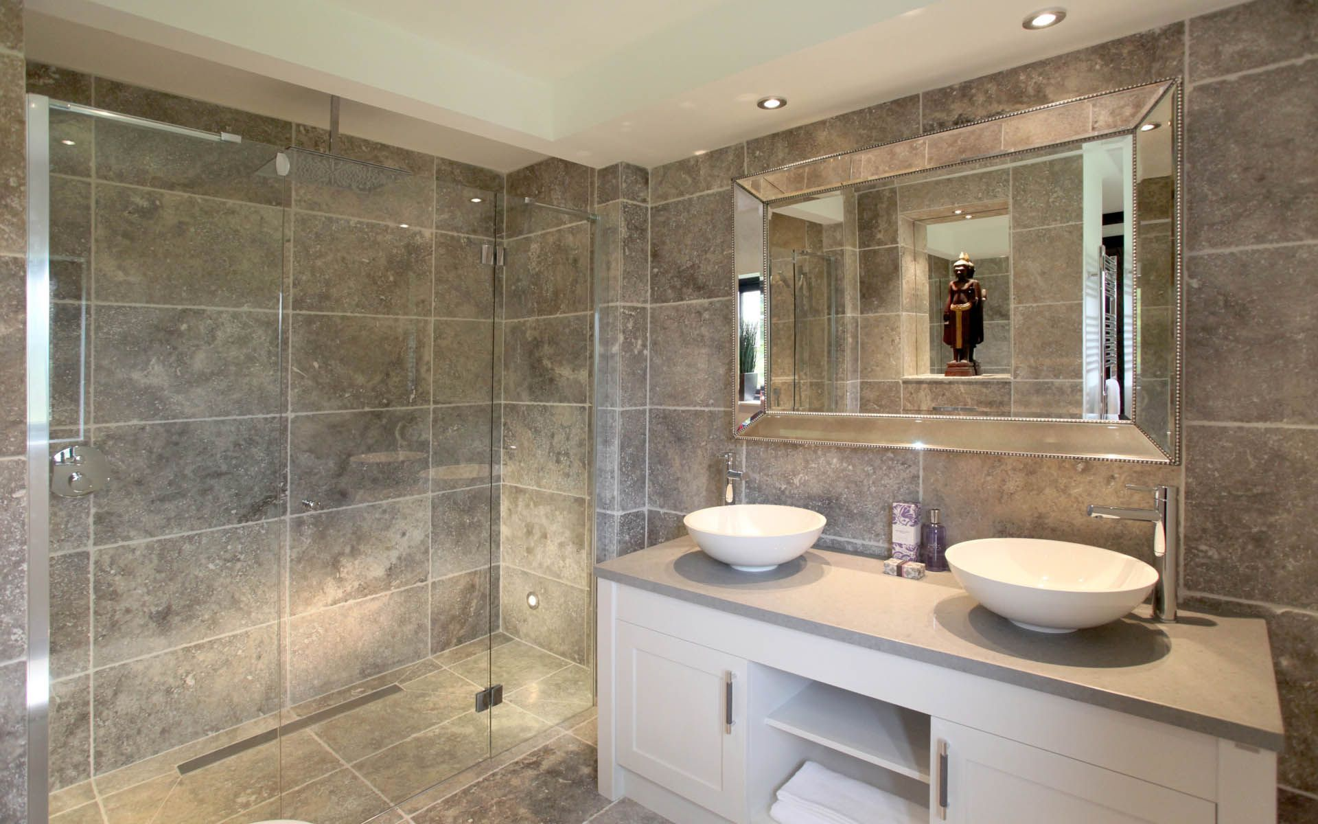 En Suite Shower Room Design Ideas Part - 15: Photo Of Beige Brown Bathroom Ensuite Ensuite Bathroom With Cabinets Double  Sink Lighting Mirror Shower Sink Sinks Tiles | Home Sweet Home | Pinterest  ...