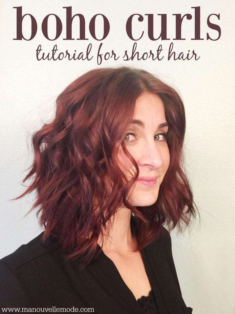 Boho Curls For Short Hair Ma Nouvelle Mode How To Curl Short Hair Hair Styles Hippie Hair
