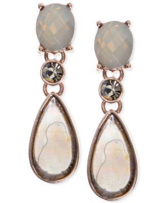 Anne Klein Rose Gold-Tone Multi-Stone Drop Earrings