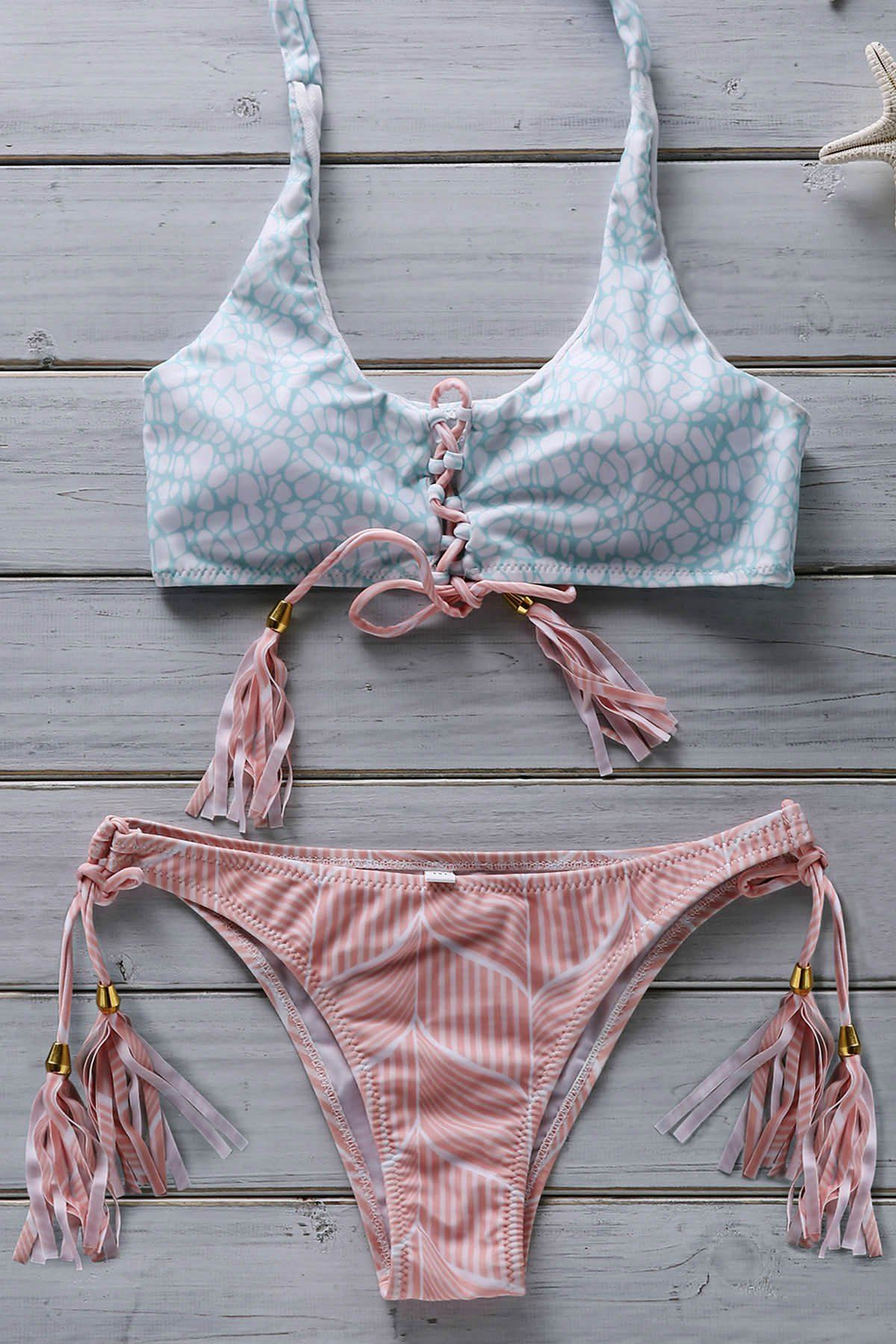 Halter Lace Up Flower Print Bathing Suit Pinterest Flower Prints