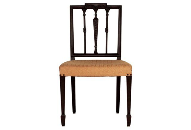 English Sheraton Style Side Chair, C. 1810 Note spade foot and design on  back; Sheraton chairs were often painted and/or guilded - DINING ROOM: Dining Room Chair Style Sheraton Style Side Chair, C