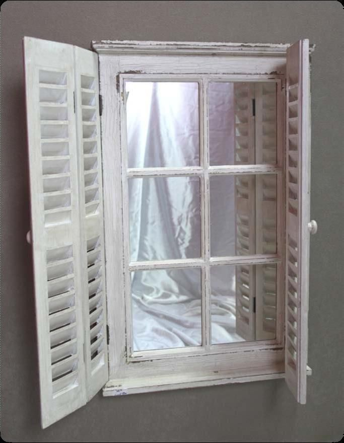 French Mirror Wall Ornate Chic Shabby Shutter Shutters New White Window Mirrors Mirror Wall Window Mirror Mirror Wall Decor