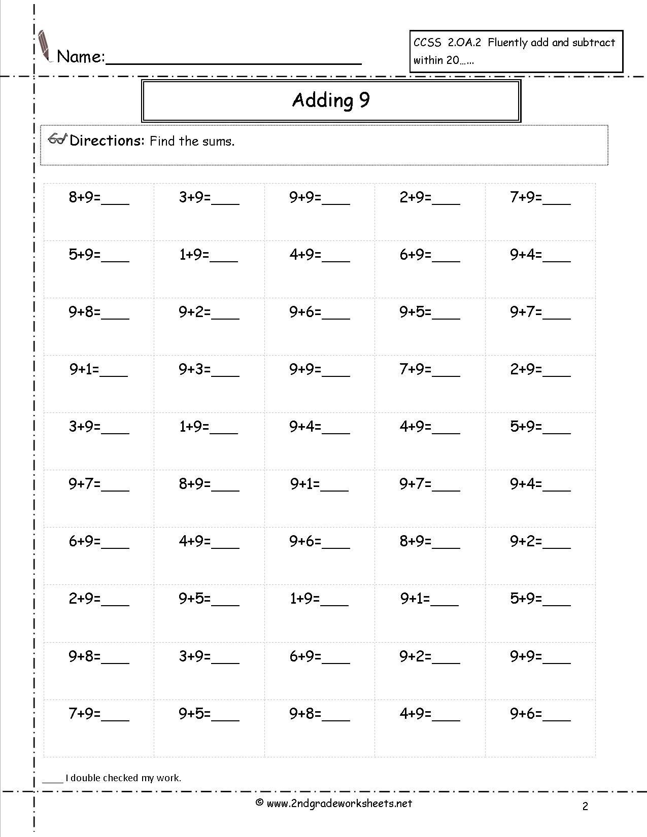 Adding Nine Addition Facts Worksheet