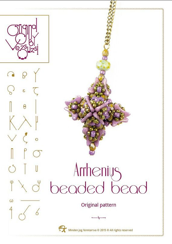 Beading tutorial Arrhenius beaded bead with crescent beads- PDF instruction for personal use only