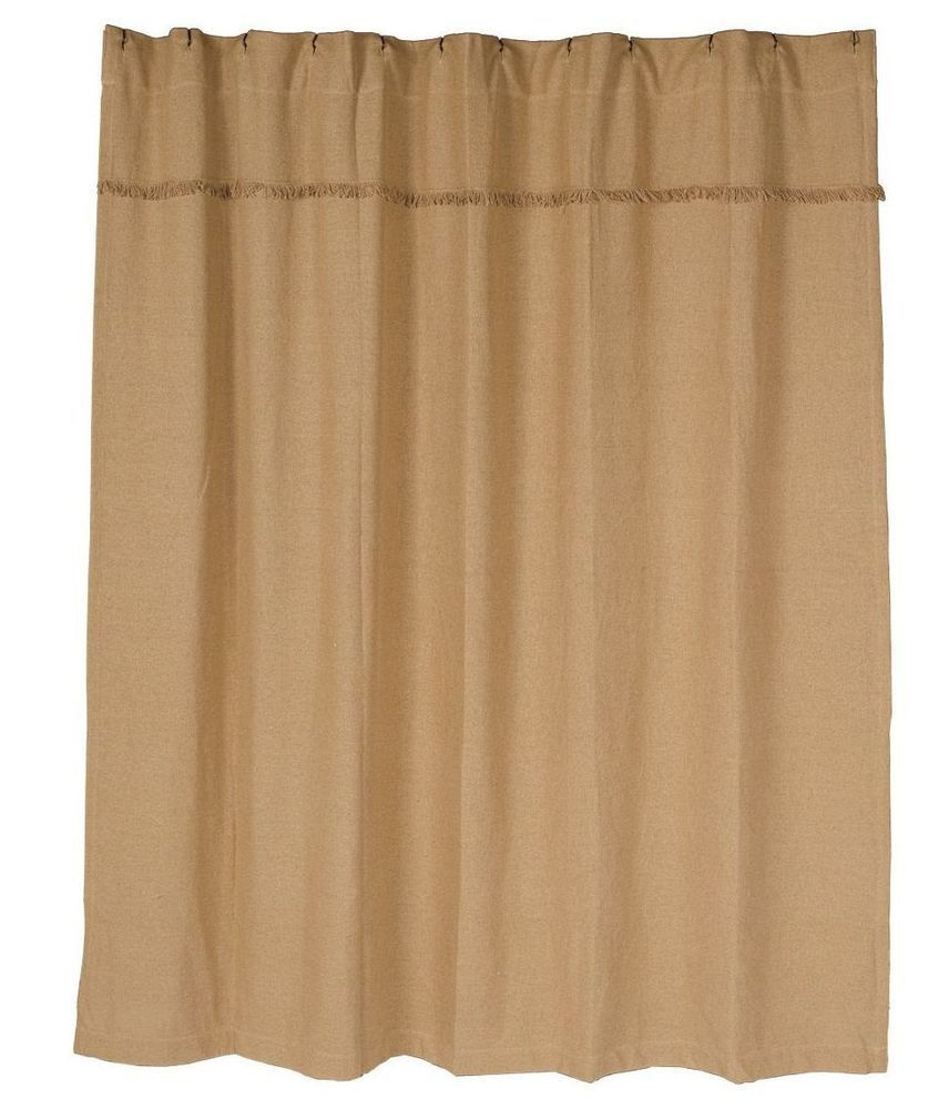 Natural Burlap Shower Curtain Use The 1 Button Holes For Hooks Not Included Or A 3 Rod Pocket Color Beige Care Instructions Machine Washable
