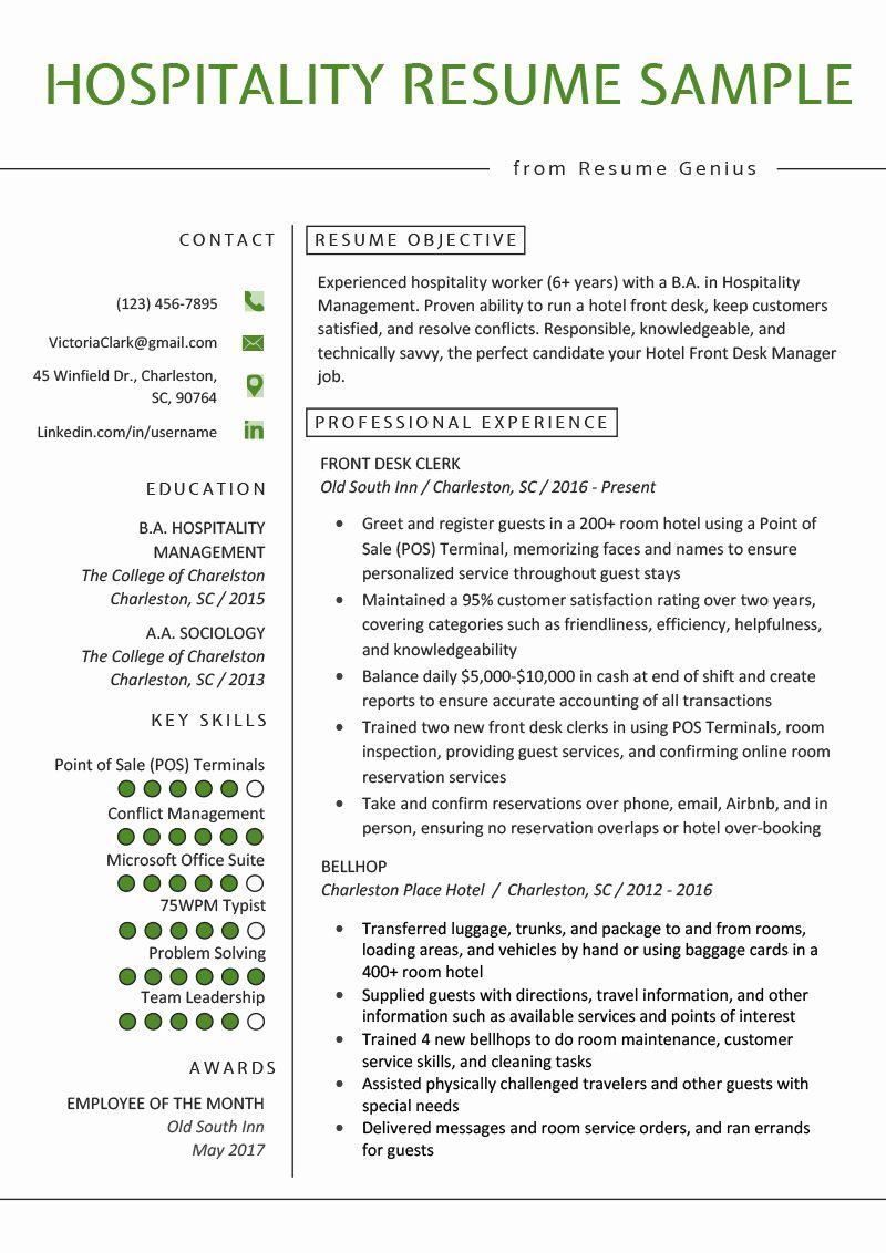 Porter Job Description Resume Elegant Hospitality Resume Sample Writing Guide Job Resume Examples Resume Examples Job Resume