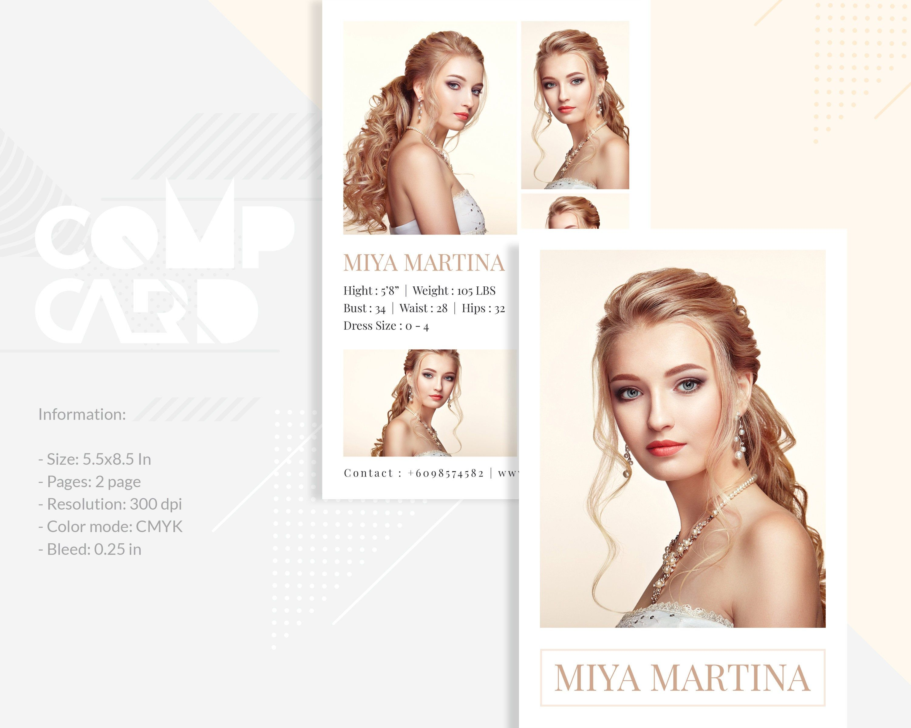 Modeling Comp Card Fashion Model Comp Card Template Photoshop Elements And Ms Word Template Insta Model Comp Card Card Template Funeral Program Template