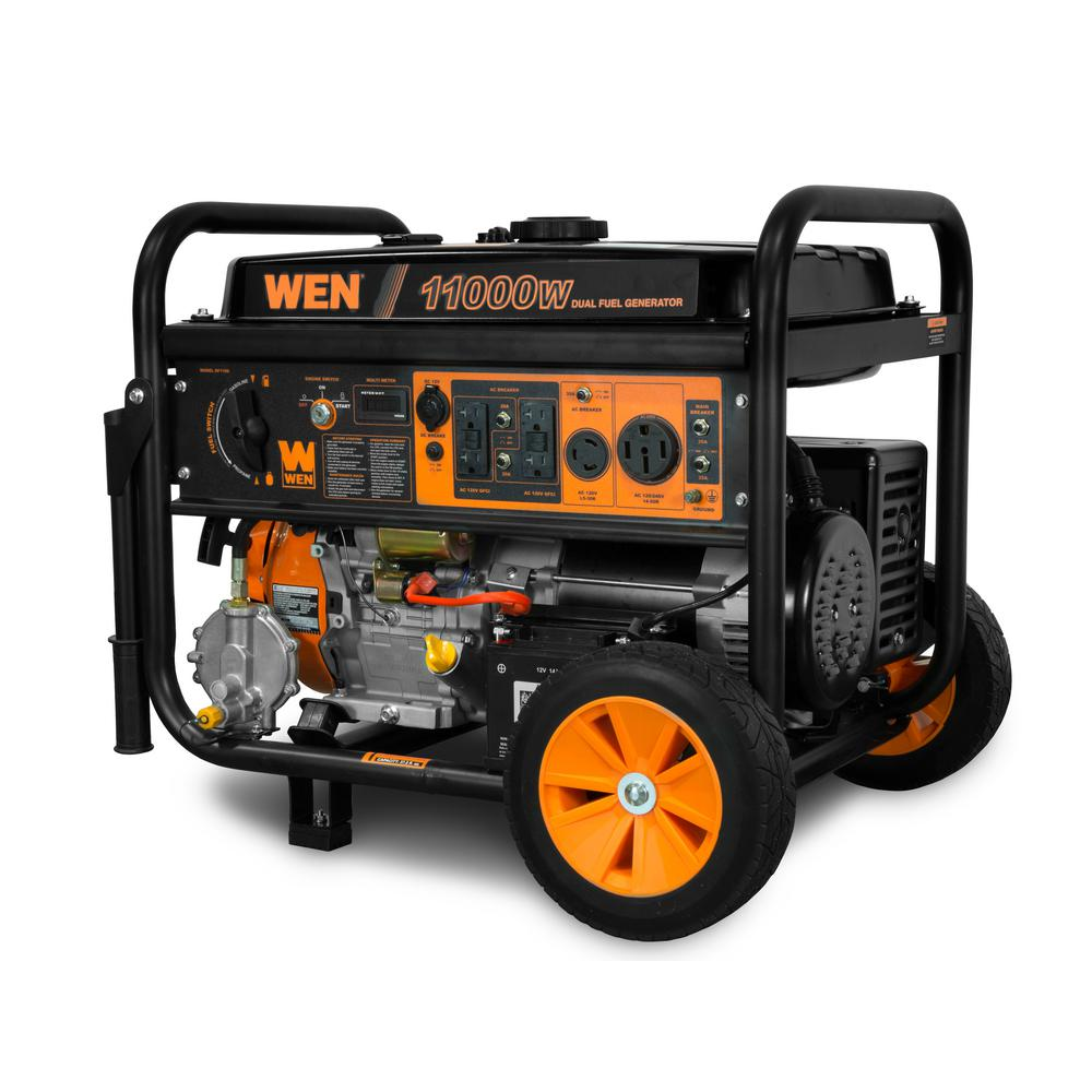 Wen 11 000 8 300 Watt 120v 240v Dual Fuel Gasoline And Propane Powered Electric Start Portable Generator With Wheel Kit Df1100t The Home Depot Portable Generator Portable Power Generator Portable Electric Generator