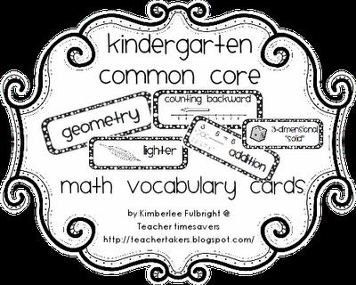 Teacher Time Savers: Common Core Math Vocabulary Cards