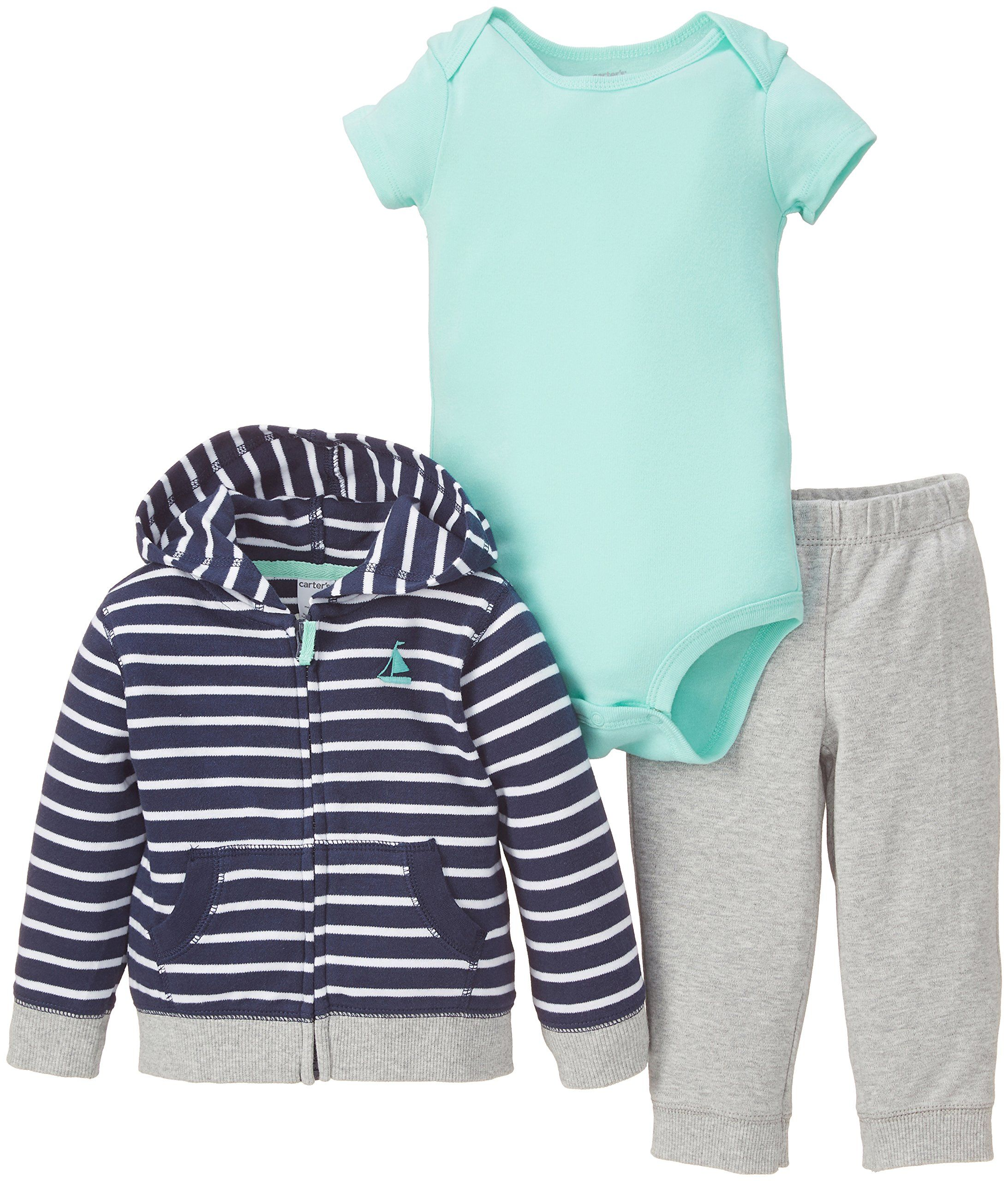 Amazon.com: Carter's Baby Boys' 3 Piece Striped Hoodie Set (Baby) - Navy: Clothing