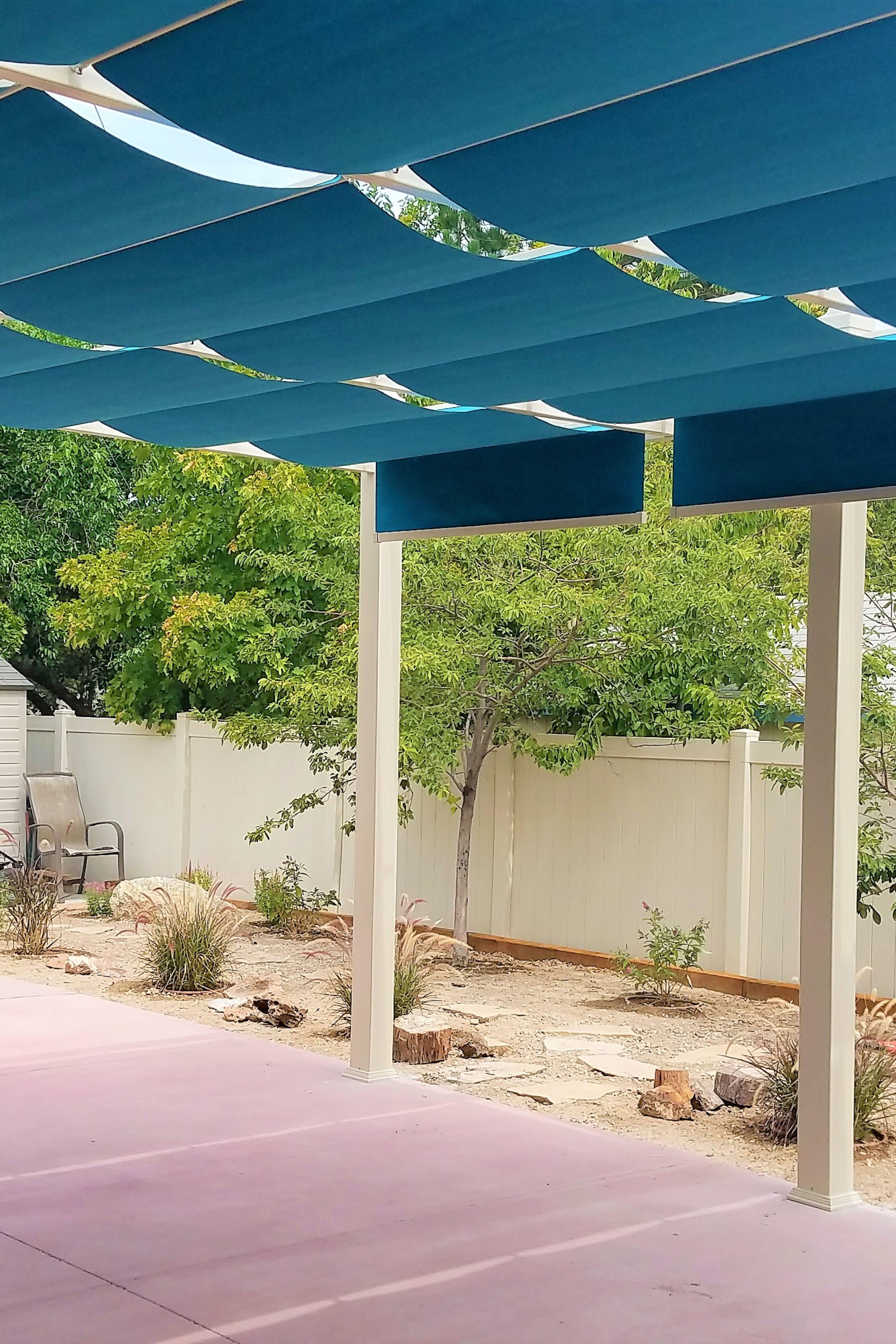 Turquoise Blue Fabric Shades On White Backyard Pergola Pergola Shade Cover Pergola Pergola Garden