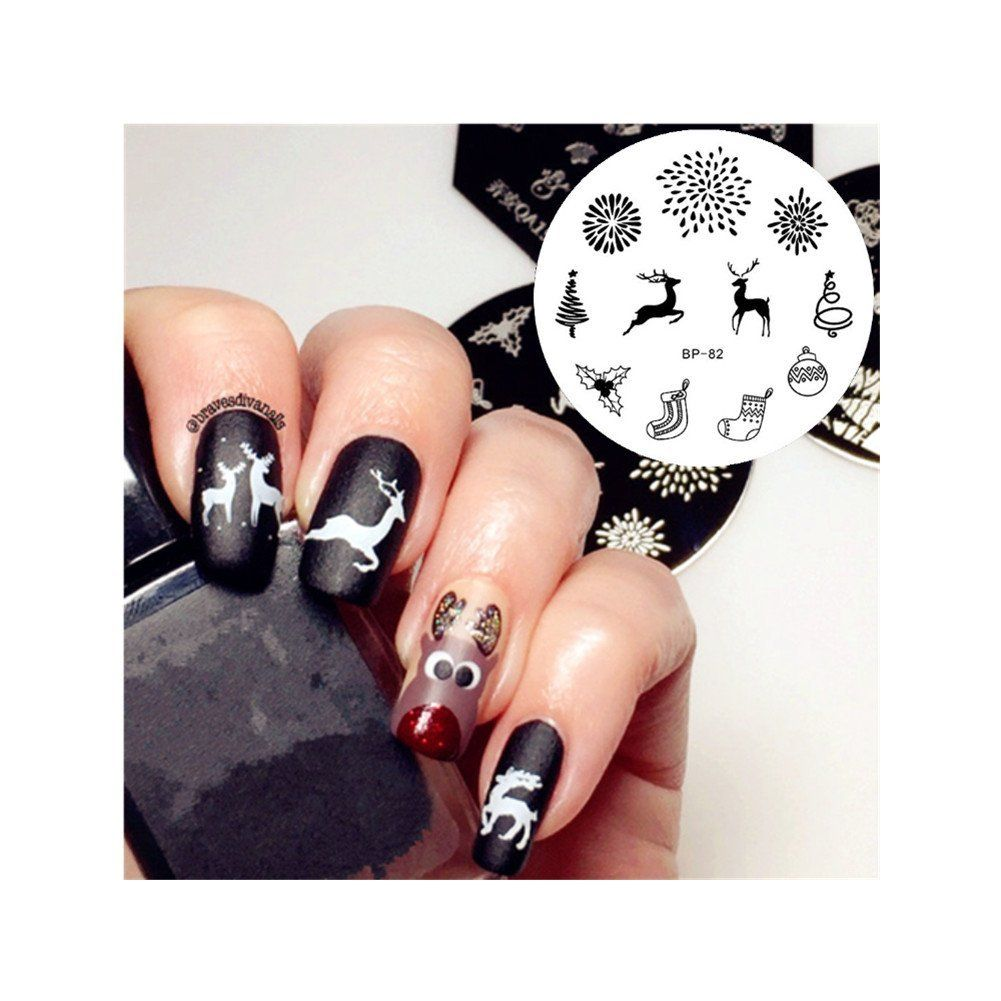 Born Pretty Nail Art Stamp Template Image Plate Xmas Deer Fireworks BP82 *** See this great product.