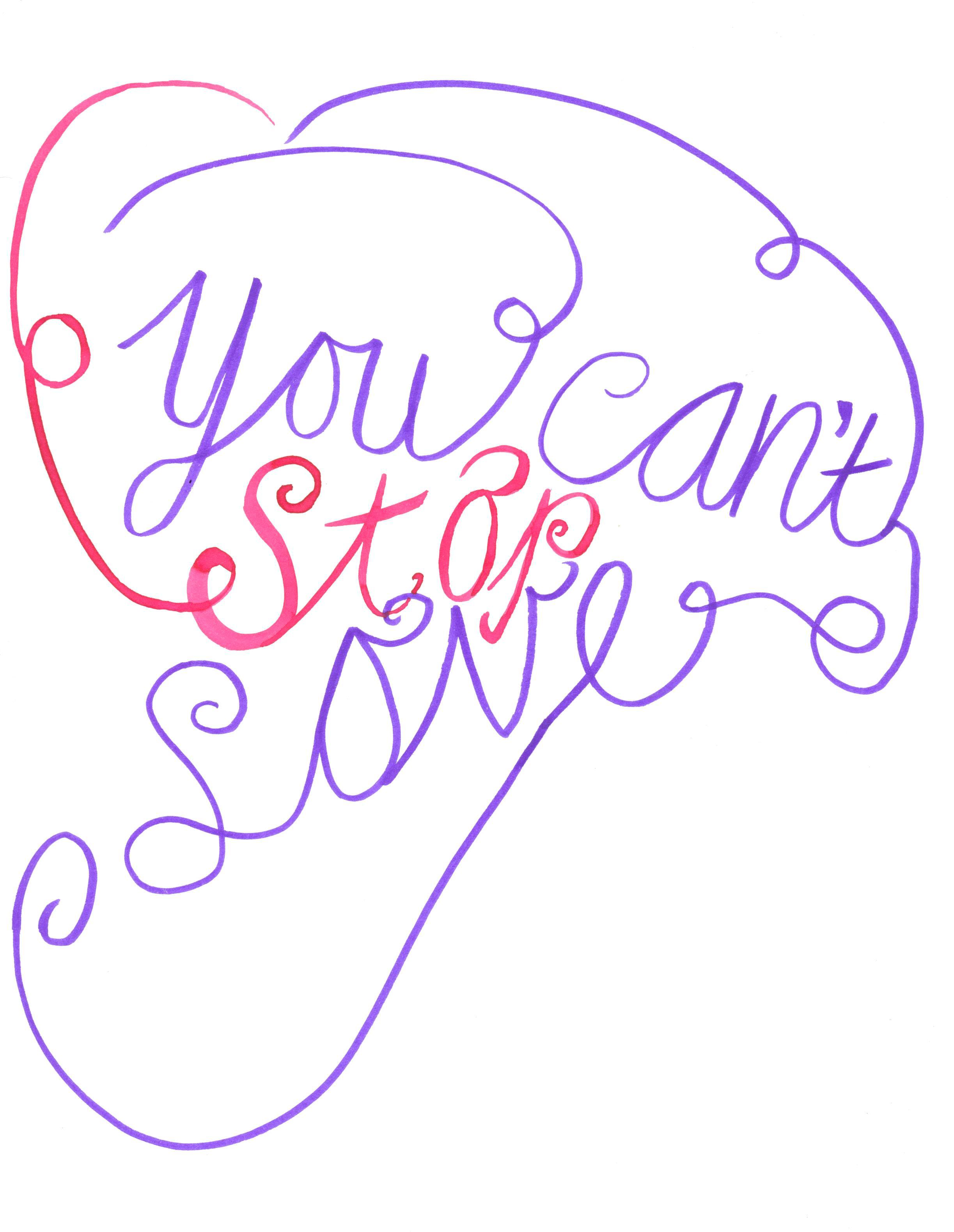 You Can T Stop Love Handlettering Illustraties Illustratie