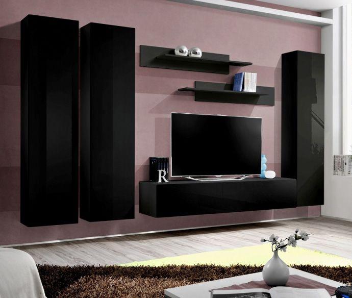 Idea D1 Black Wall Units For Living Room Met Afbeeldingen Tv