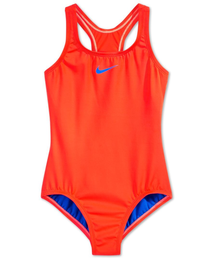 cfd171df7a Nike Girls' Racerback Solid One-Piece Swimsuit | SUMMER | Swimsuits ...