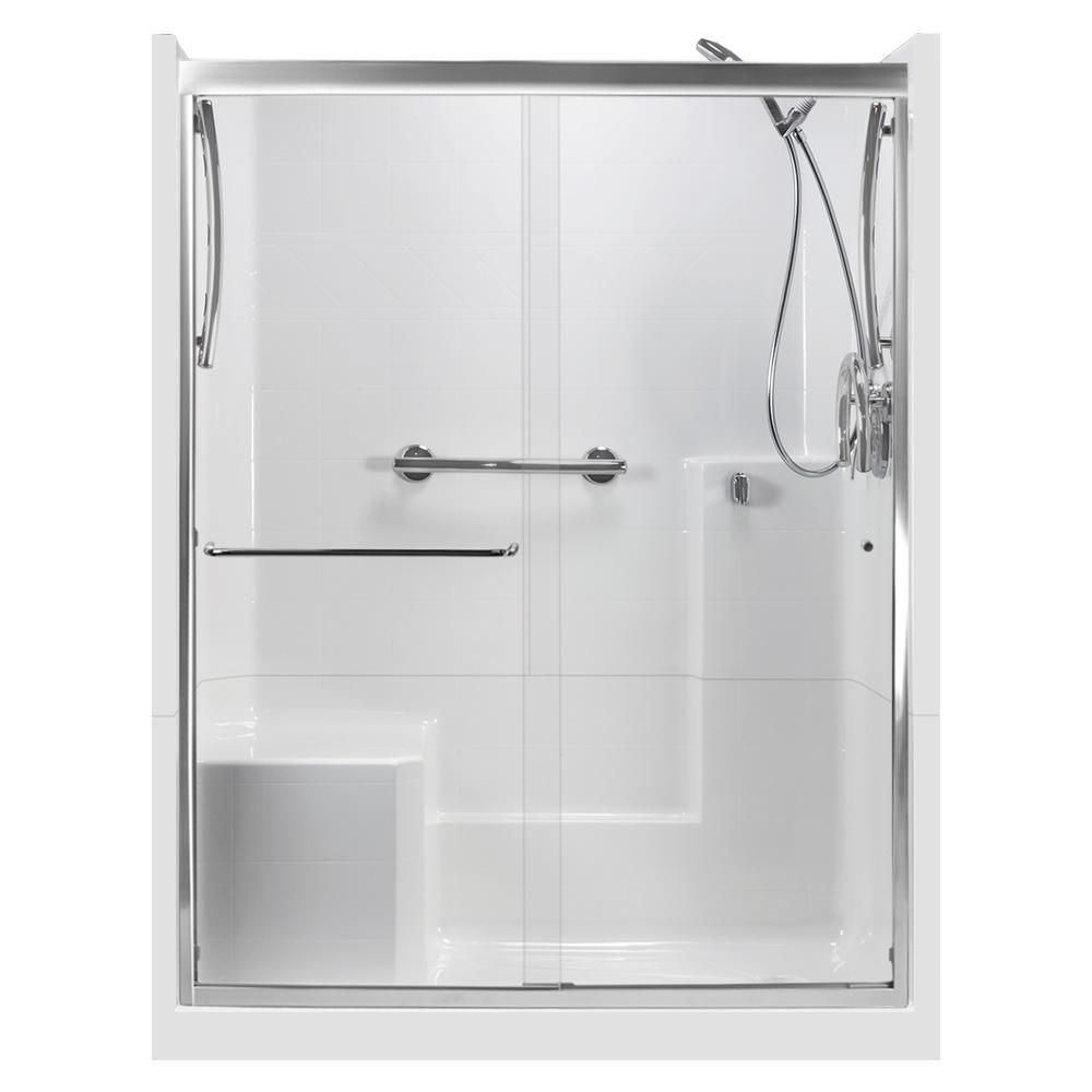 Ella 60 In X 33 In X 77 In Right Drain 3 Piece Alcove Shower