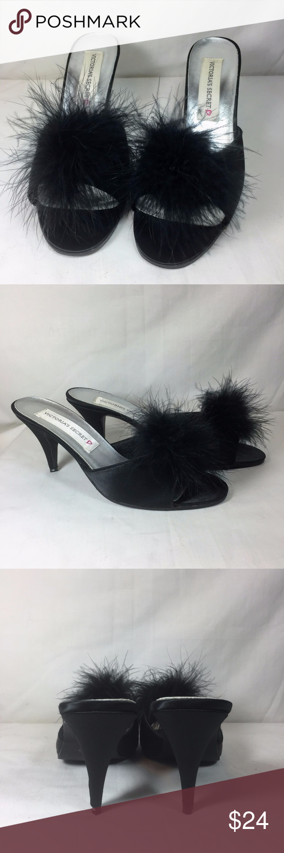 bb445652ddb55 Victoria's Secret Marabou Puff High Heel Slippers Victoria's Secret ...