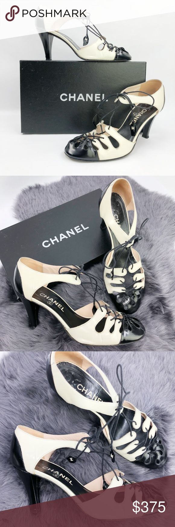 Chanel Caged Spectator Ankle Wrap Shoes Pump CC 37 Chanel Shoes Ankle Wrap Pumps... 5