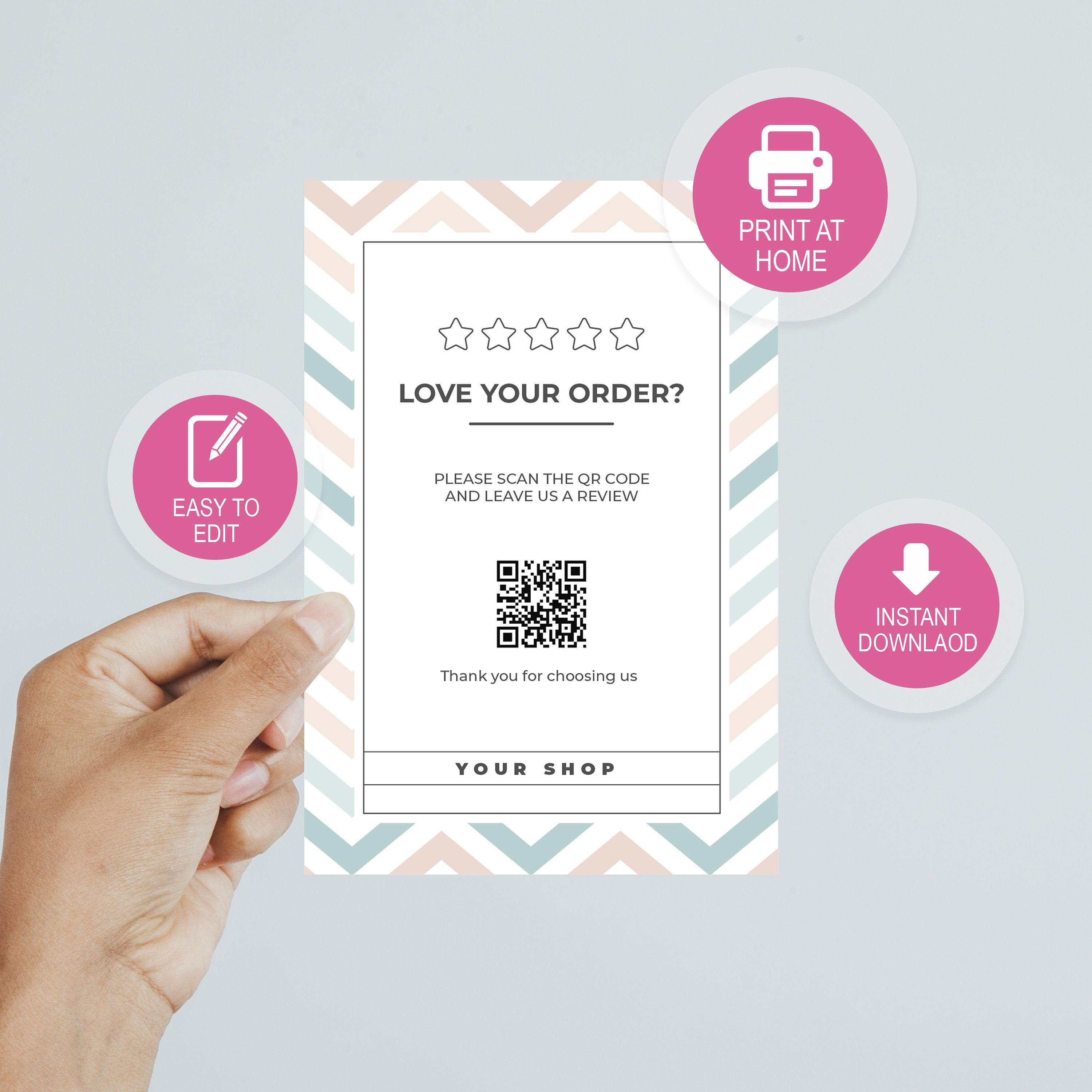 Etsy Seller Business Thank You Card Thank You For Your Order Card Qr Code Scan Business Thank You Cards Business Thank You Thank You Cards