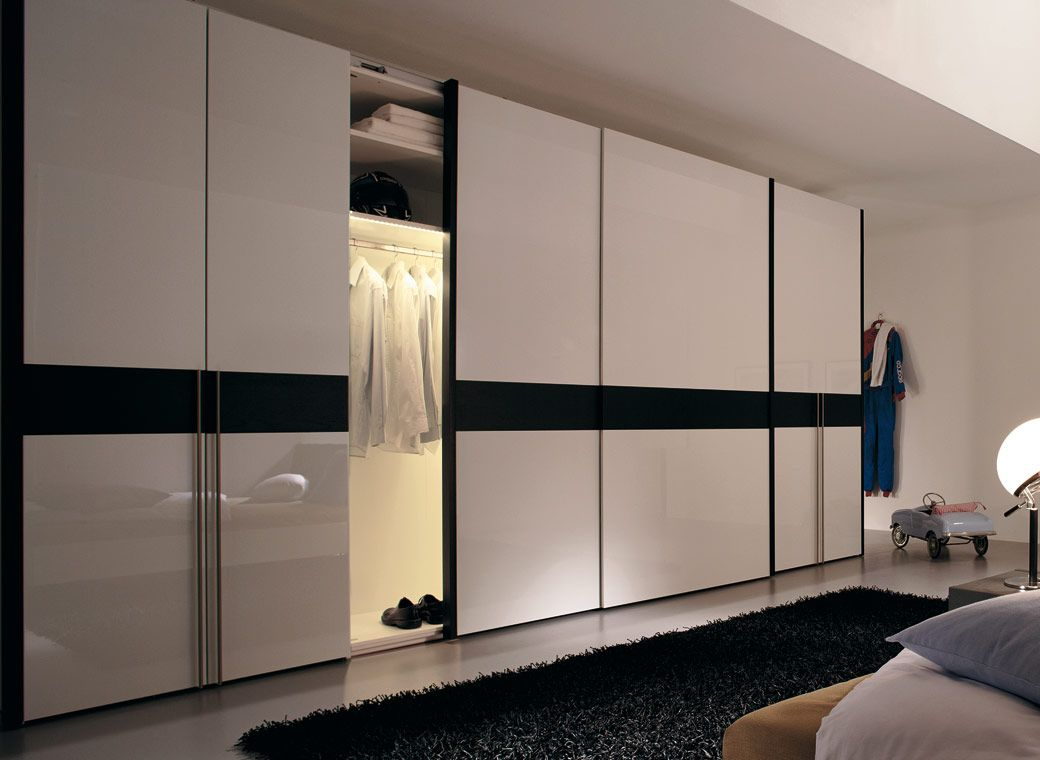 Appealing Sliding Closet Door on Sleeky Floor under Chalk Ceiling with  White Color
